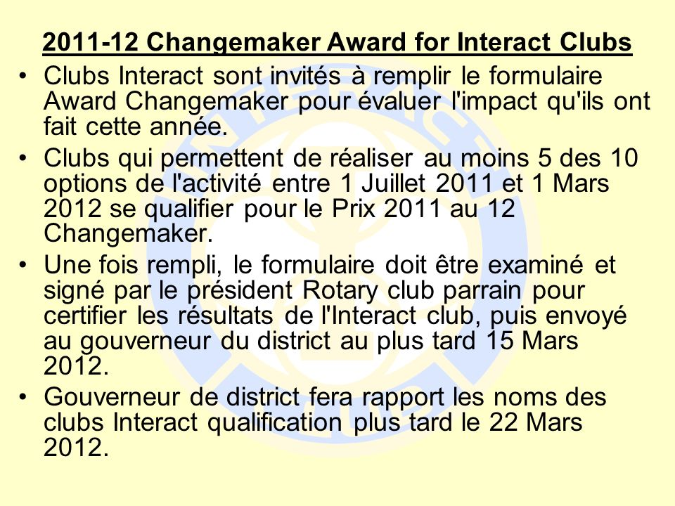 2011-12 Changemaker Award for Interact Clubs
