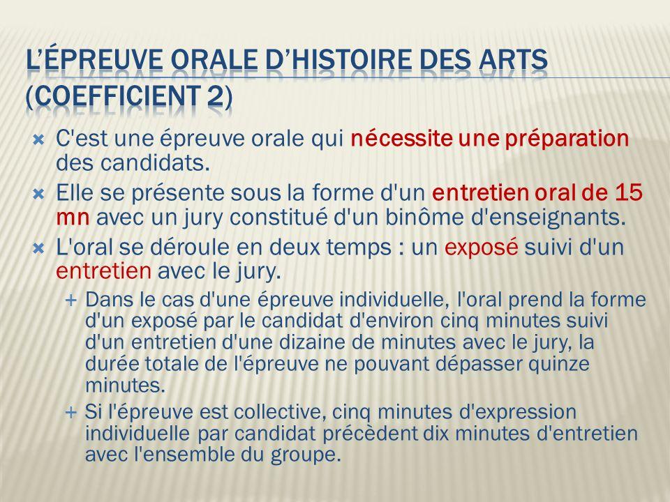 L'épreuve orale d'histoire des arts (coefficient 2)