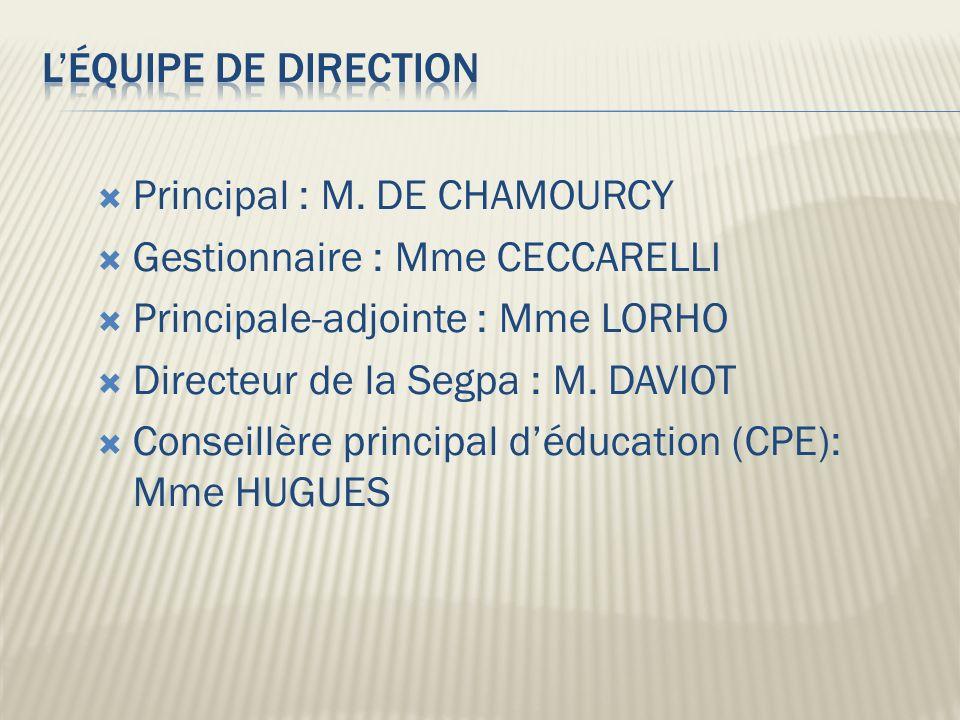 L'équipe de direction Principal : M. DE CHAMOURCY. Gestionnaire : Mme CECCARELLI. Principale-adjointe : Mme LORHO.