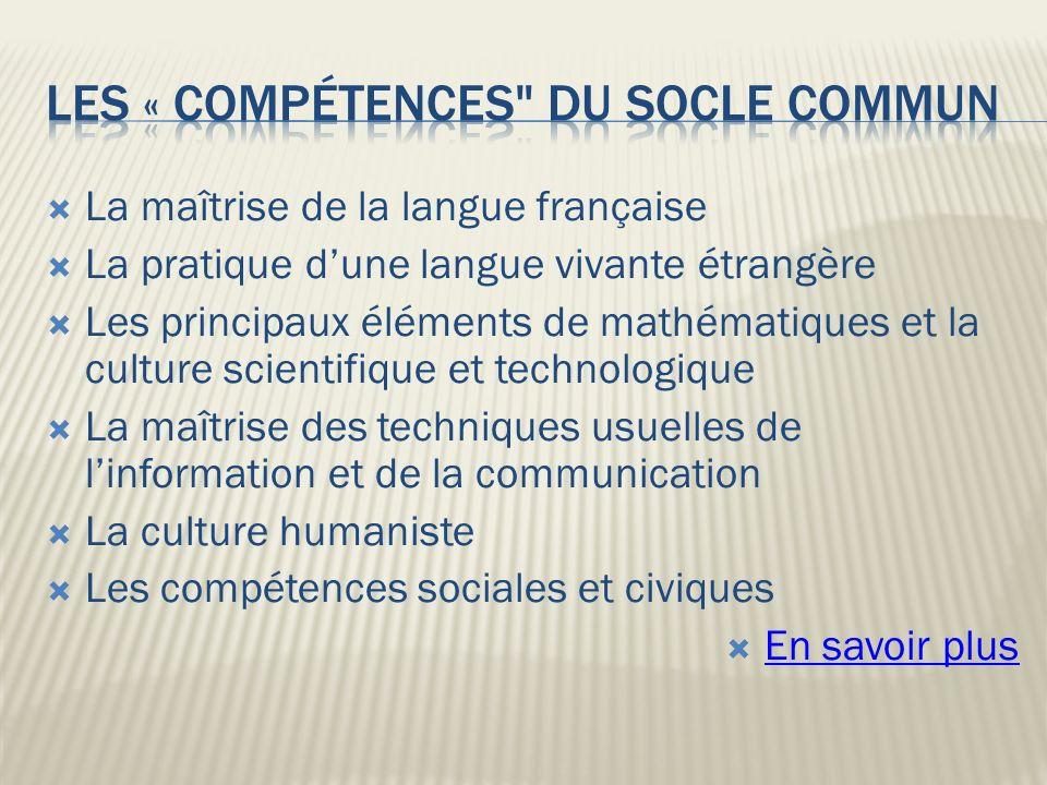 les « compétences du socle commun