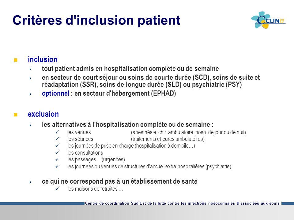 Critères d inclusion patient