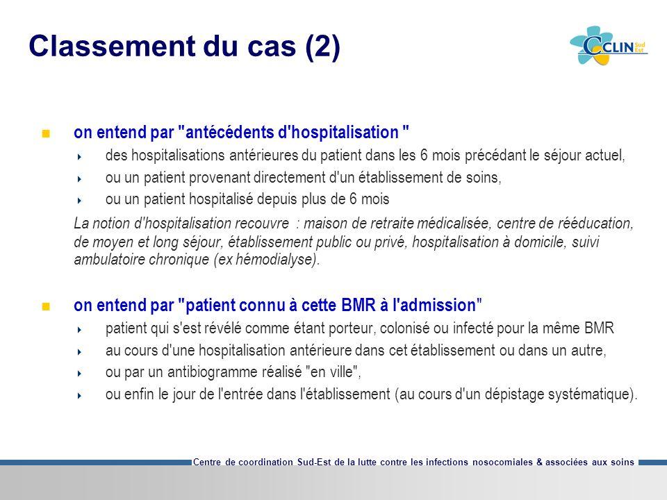 Classement du cas (2) on entend par antécédents d hospitalisation