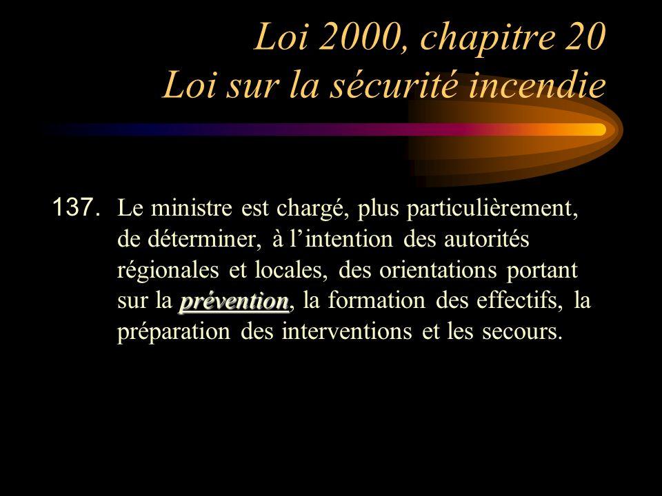 Loi 2000, chapitre 20 Loi sur la sécurité incendie