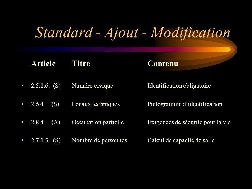 Standard - Ajout - Modification