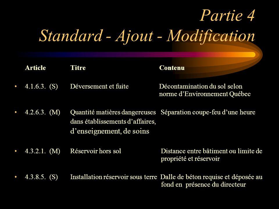 Partie 4 Standard - Ajout - Modification