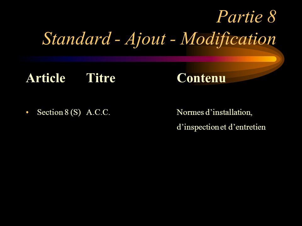 Partie 8 Standard - Ajout - Modification