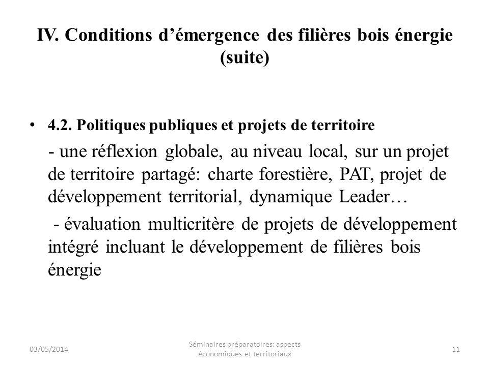 IV. Conditions d'émergence des filières bois énergie (suite)
