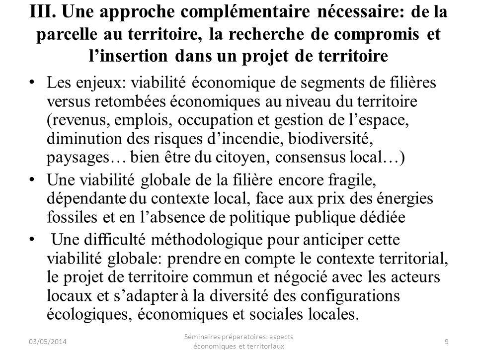 Séminaires préparatoires: aspects économiques et territoriaux