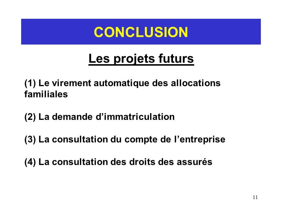 CONCLUSION Les projets futurs