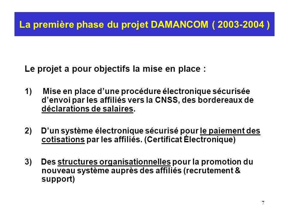 La première phase du projet DAMANCOM ( 2003-2004 )
