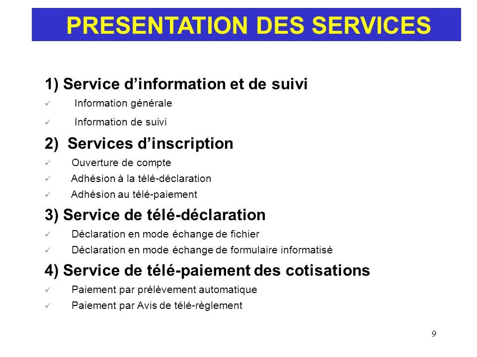 PRESENTATION DES SERVICES