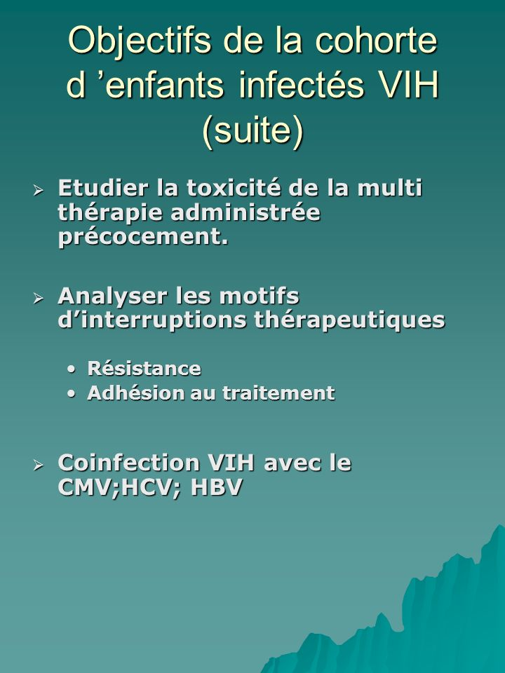 Objectifs de la cohorte d 'enfants infectés VIH (suite)