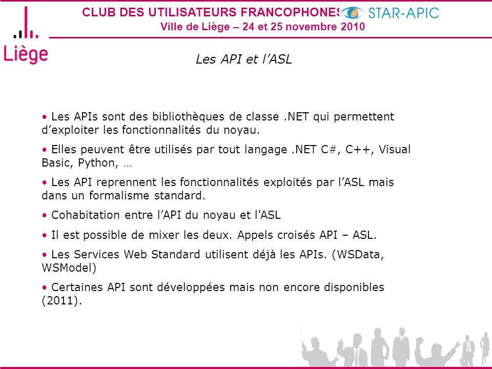 Les API et l'ASL Les APIs sont des bibliothèques de classe .NET qui permettent d'exploiter les fonctionnalités du noyau.