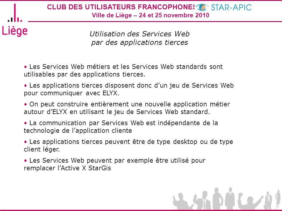 Utilisation des Services Web par des applications tierces