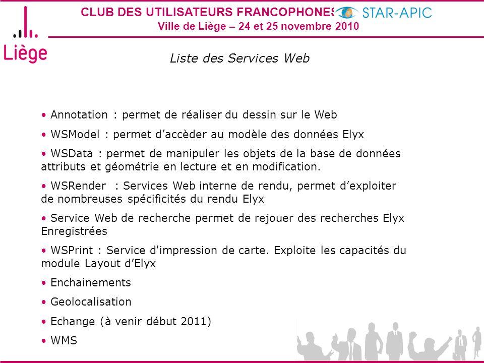 Liste des Services Web Annotation : permet de réaliser du dessin sur le Web. WSModel : permet d'accèder au modèle des données Elyx.