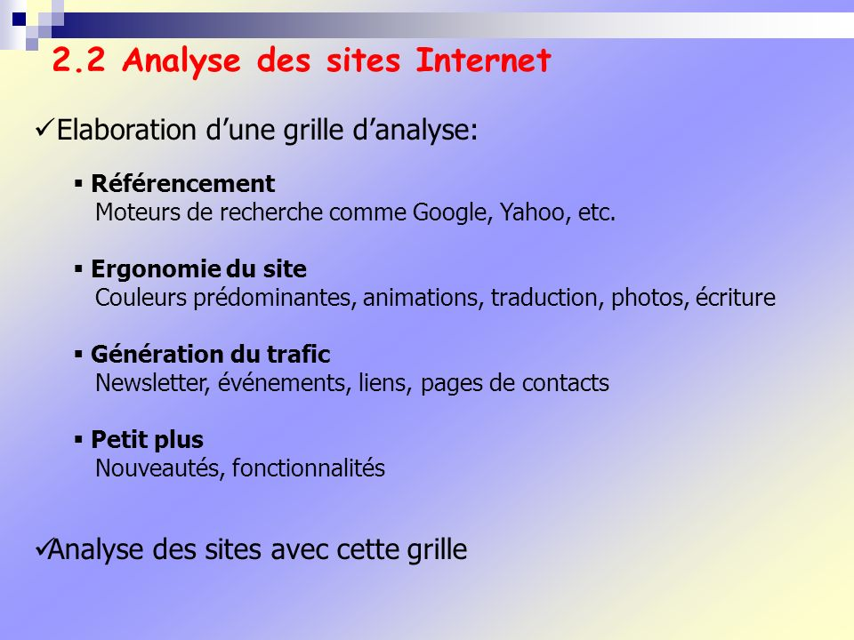 2.2 Analyse des sites Internet