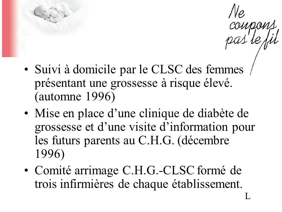 Suivi à domicile par le CLSC des femmes présentant une grossesse à risque élevé. (automne 1996)