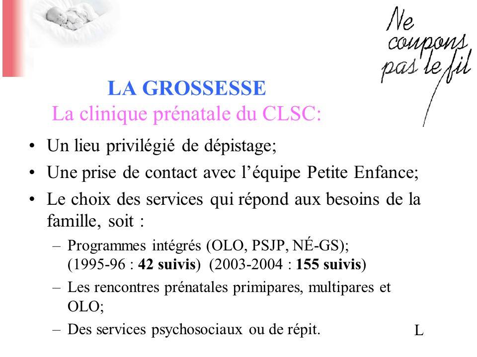 LA GROSSESSE La clinique prénatale du CLSC: