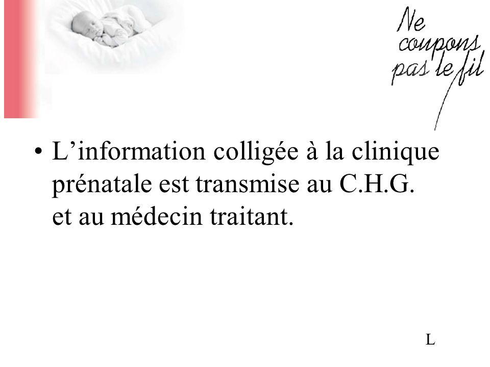 L'information colligée à la clinique prénatale est transmise au C.H.G. et au médecin traitant.