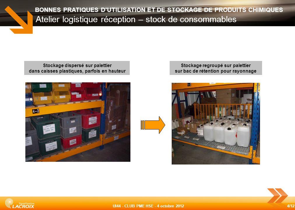 Atelier logistique réception – stock de consommables