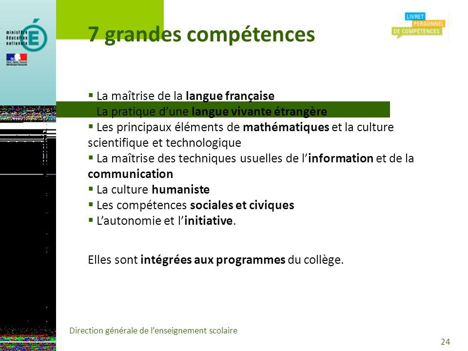 7 grandes compétences La maîtrise de la langue française