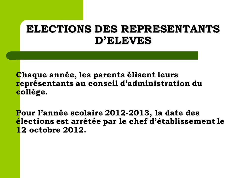 ELECTIONS DES REPRESENTANTS D'ELEVES