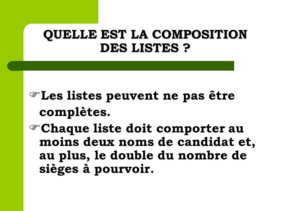 QUELLE EST LA COMPOSITION DES LISTES