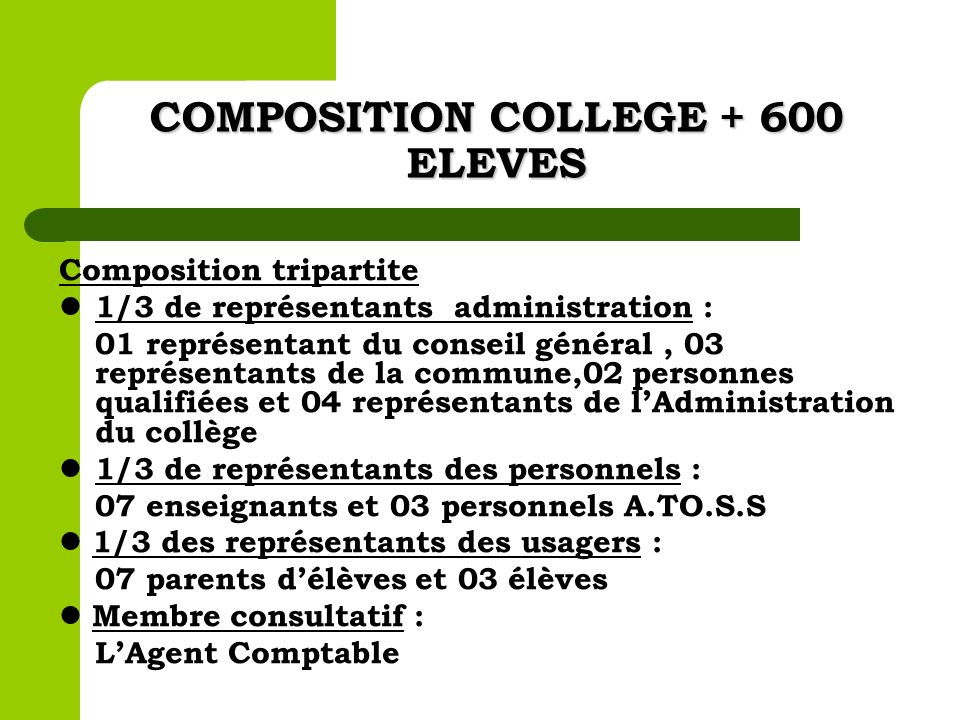COMPOSITION COLLEGE + 600 ELEVES