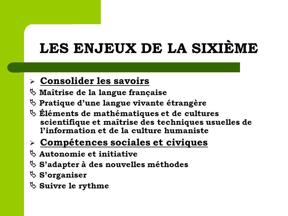 LES ENJEUX DE LA SIXIÈME