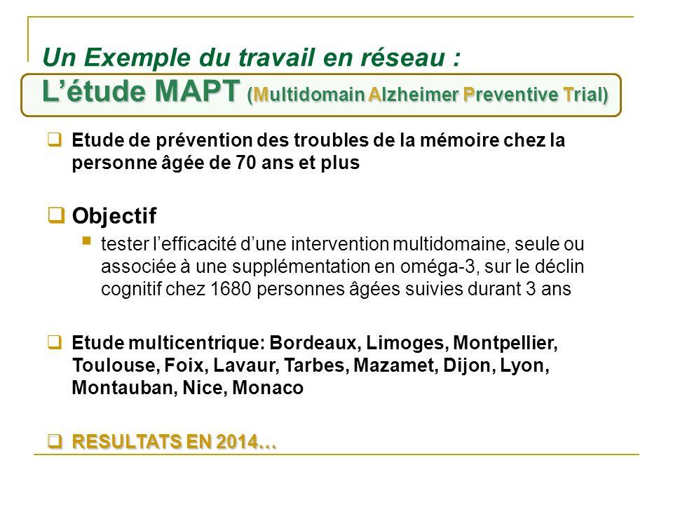 L'étude MAPT (Multidomain Alzheimer Preventive Trial)