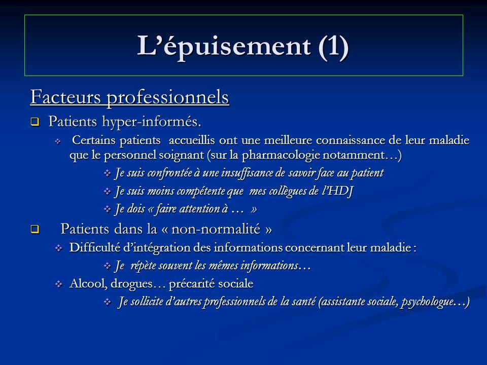 L'épuisement (1) Facteurs professionnels Patients hyper-informés.