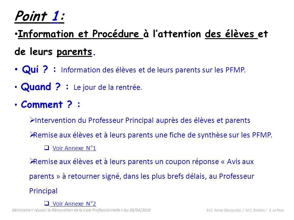 Point 1: Information et Procédure à l'attention des élèves et de leurs parents. Qui : Information des élèves et de leurs parents sur les PFMP.