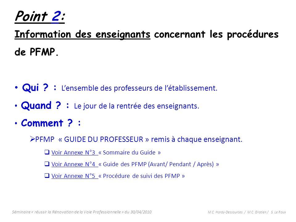 Point 2: Information des enseignants concernant les procédures de PFMP. Qui : L'ensemble des professeurs de l'établissement.