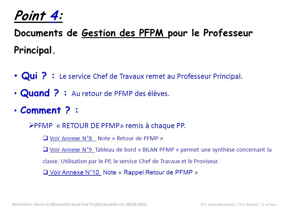 Point 4: Documents de Gestion des PFPM pour le Professeur Principal.