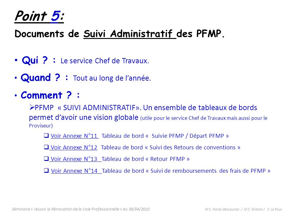 Point 5: Documents de Suivi Administratif des PFMP.