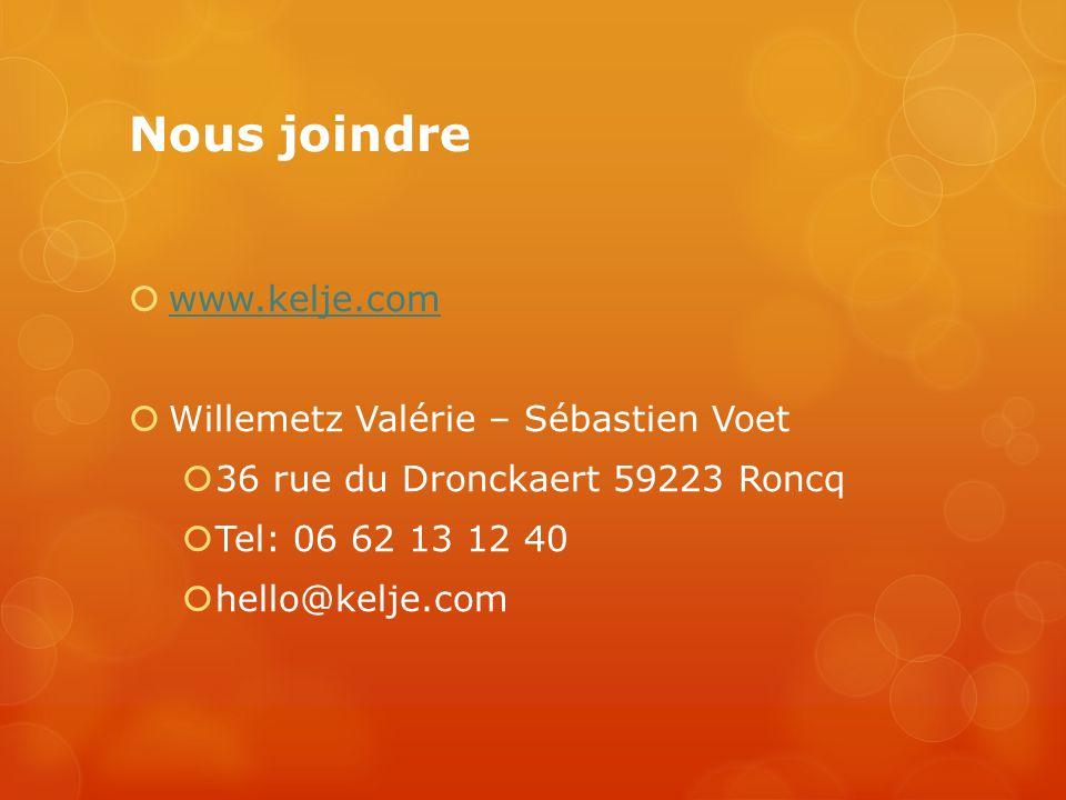 Nous joindre www.kelje.com Willemetz Valérie – Sébastien Voet