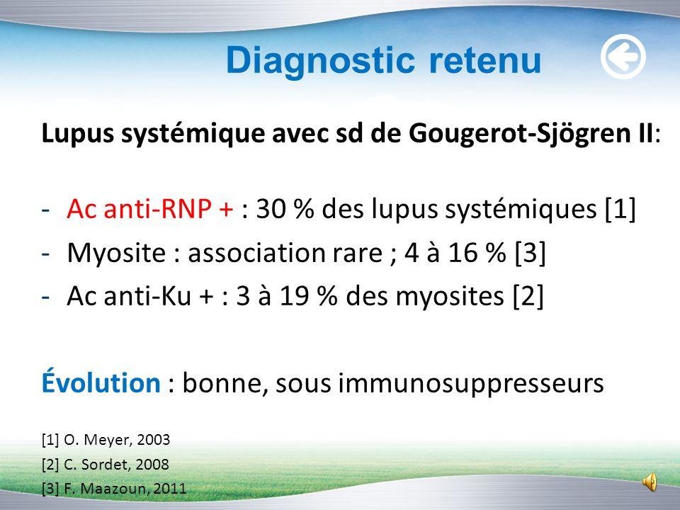 Diagnostic retenu Lupus systémique avec sd de Gougerot-Sjögren II: