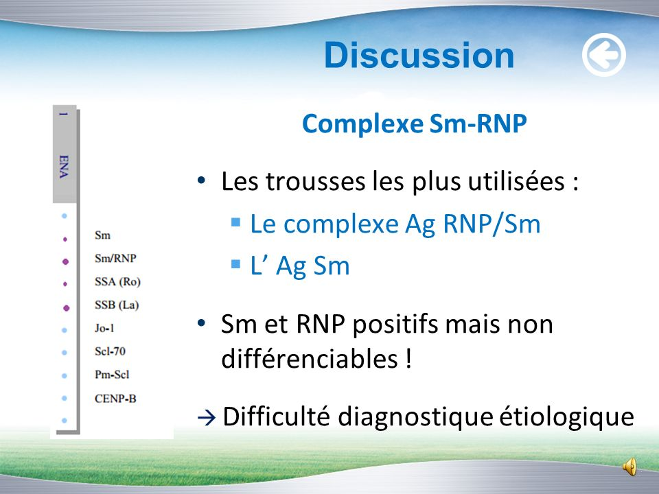 Discussion Complexe Sm-RNP Les trousses les plus utilisées :