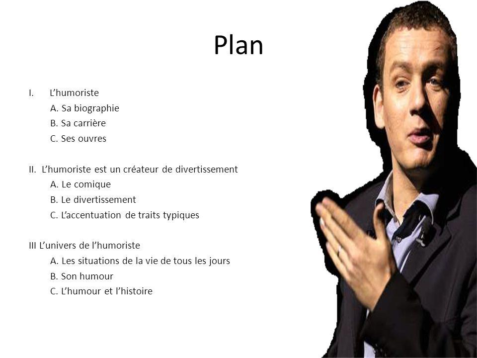 Plan L'humoriste A. Sa biographie B. Sa carrière C. Ses ouvres