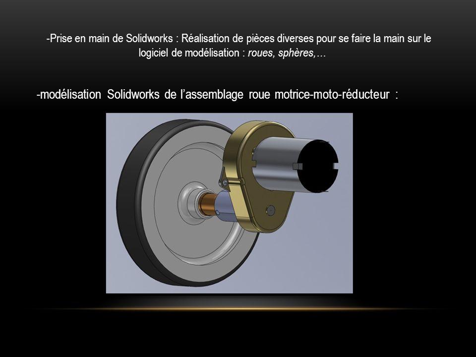 -modélisation Solidworks de l'assemblage roue motrice-moto-réducteur :