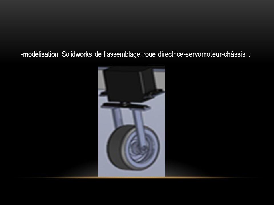 -modélisation Solidworks de l'assemblage roue directrice-servomoteur-châssis :