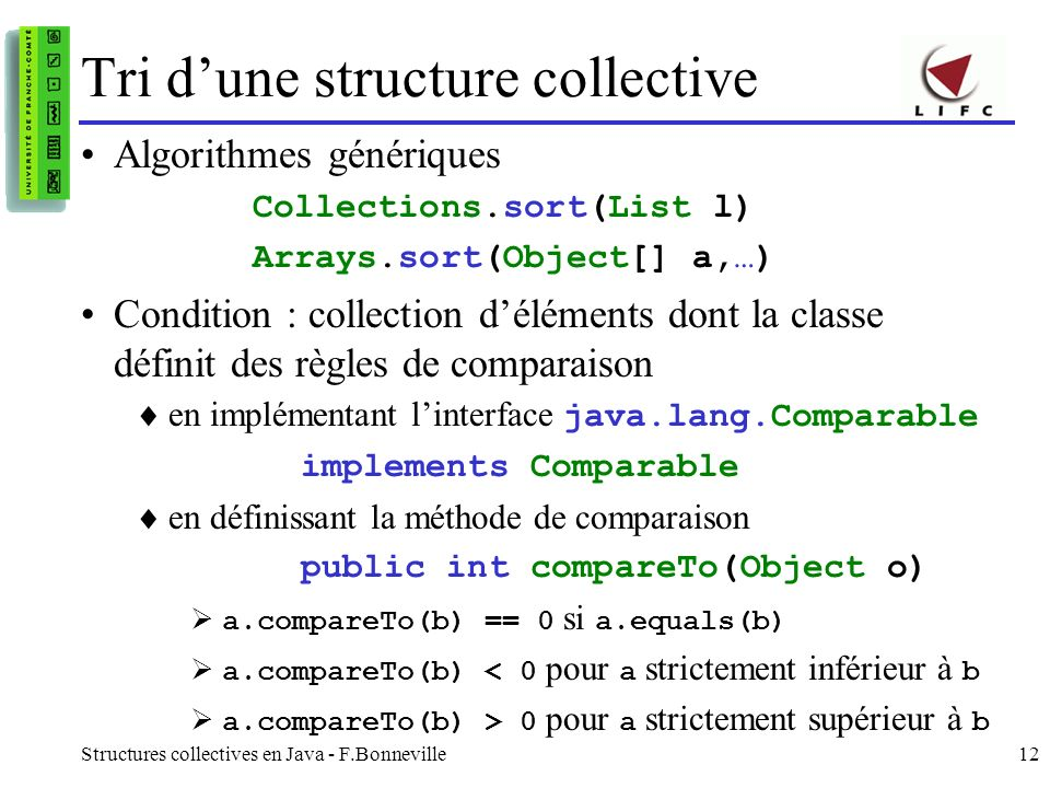 Tri d'une structure collective