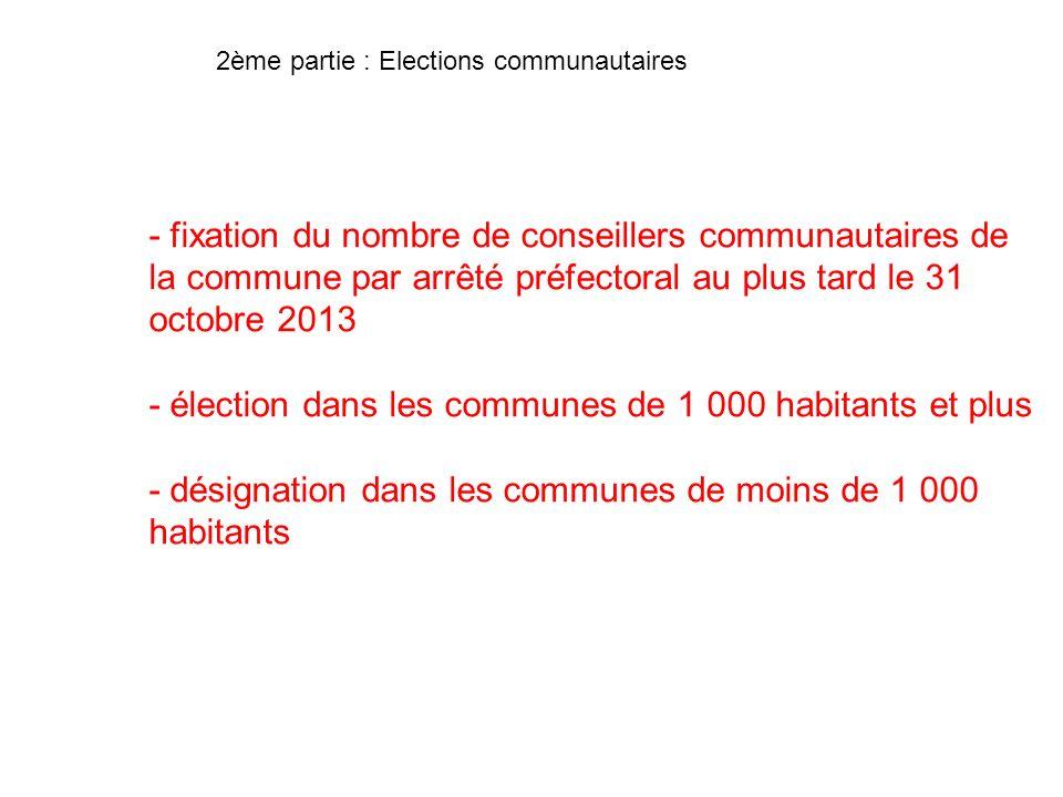 - élection dans les communes de 1 000 habitants et plus