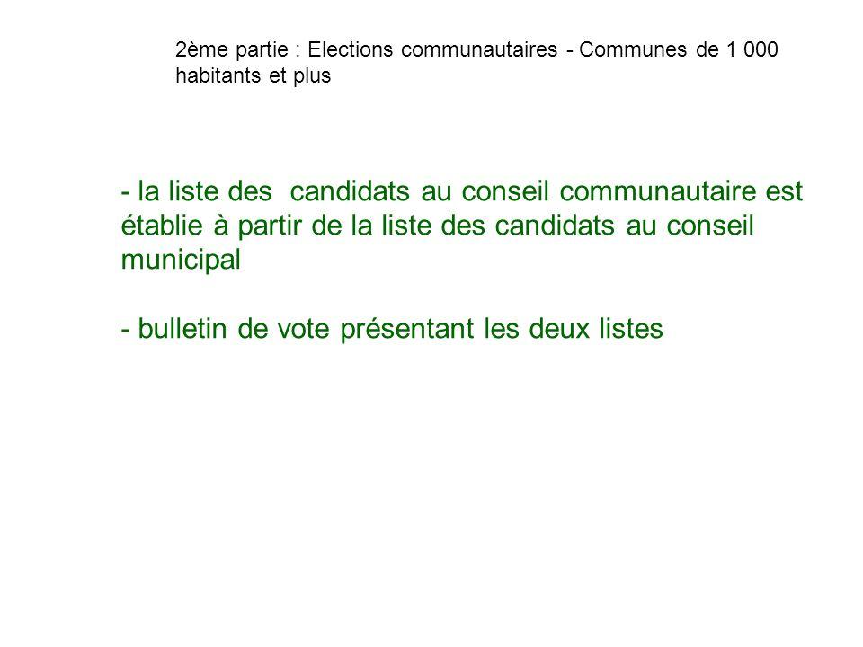 - bulletin de vote présentant les deux listes