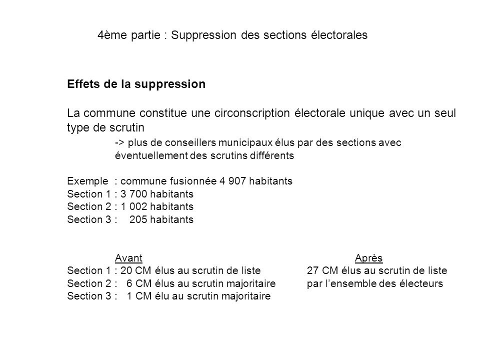 4ème partie : Suppression des sections électorales