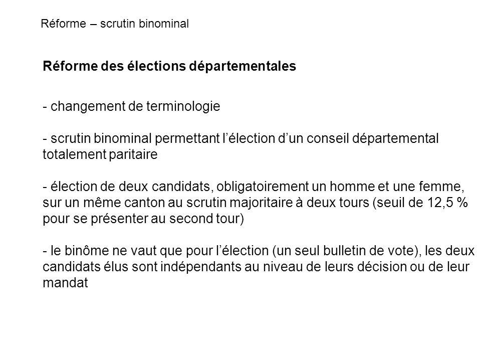 Réforme des élections départementales