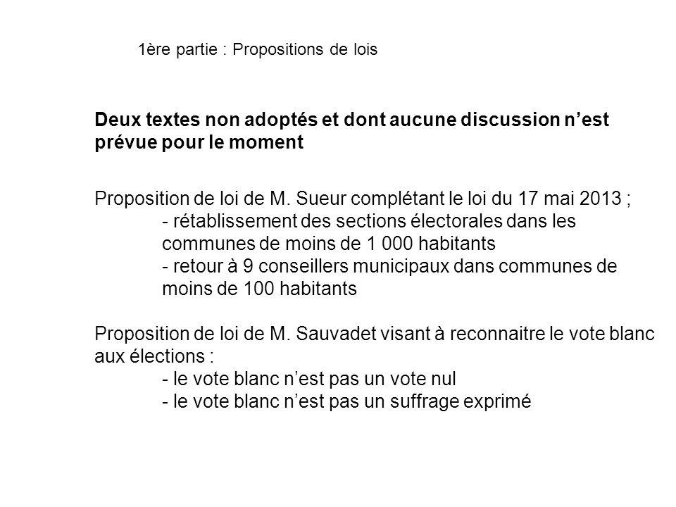 Proposition de loi de M. Sueur complétant le loi du 17 mai 2013 ;