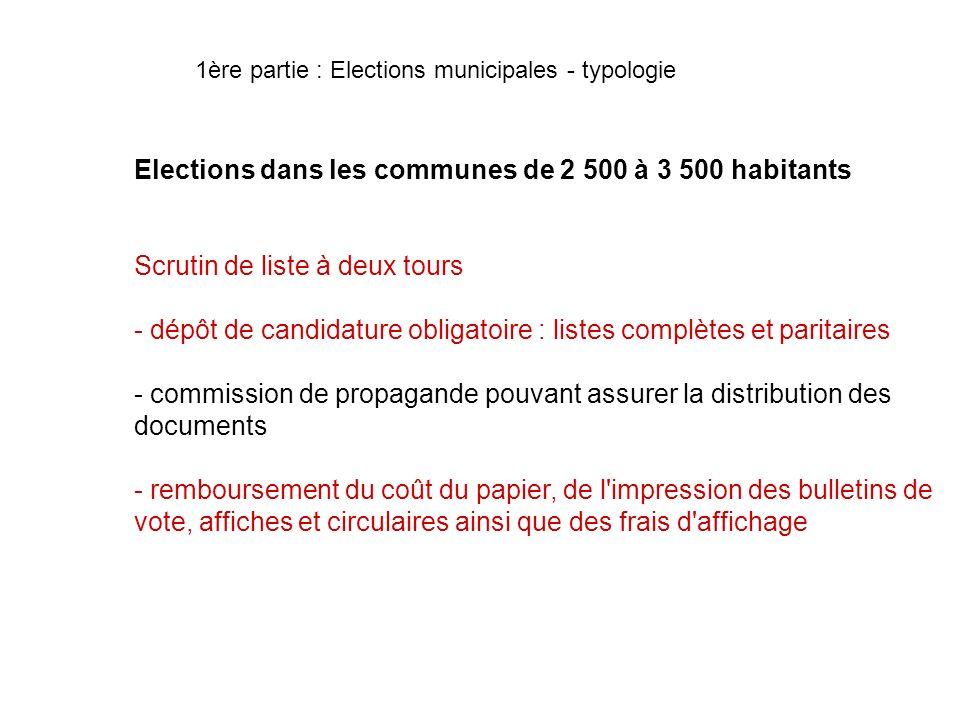 Elections dans les communes de 2 500 à 3 500 habitants