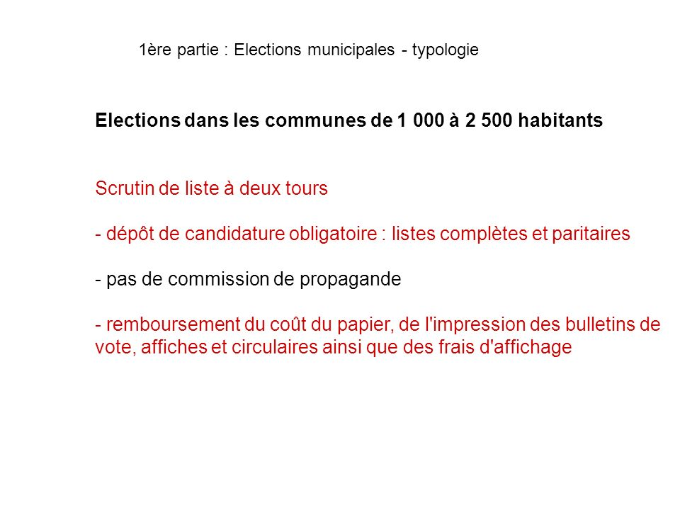 Elections dans les communes de 1 000 à 2 500 habitants