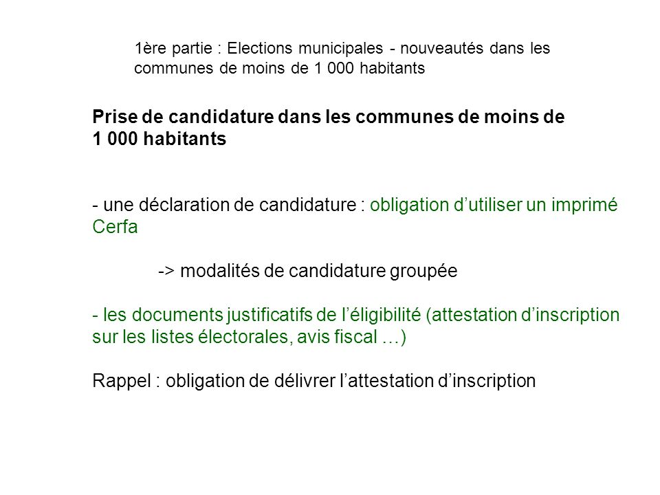 Prise de candidature dans les communes de moins de 1 000 habitants